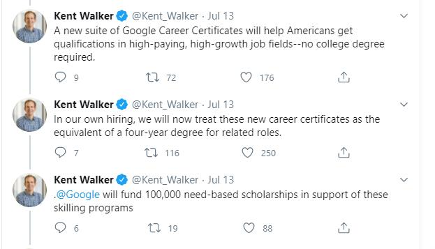 Tweets by Kent Walker about Google Career Certificates - Global Education Times (GET News)