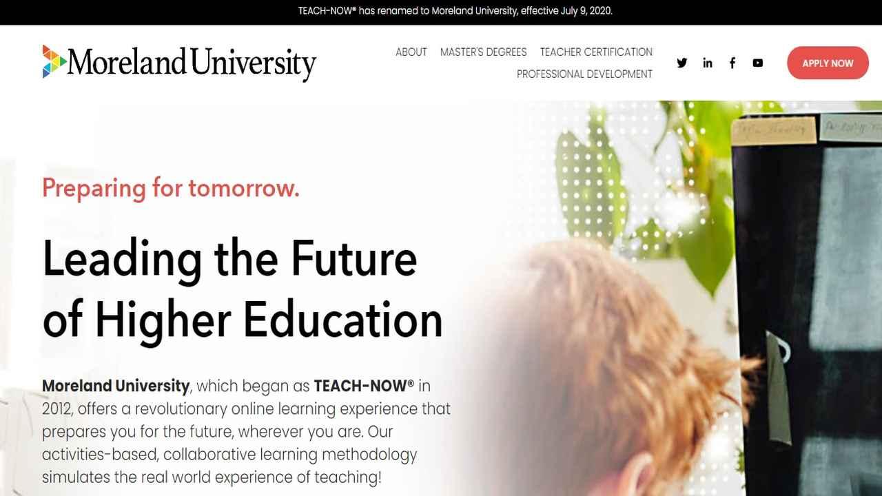Teach-Now rebrands as Moreland University