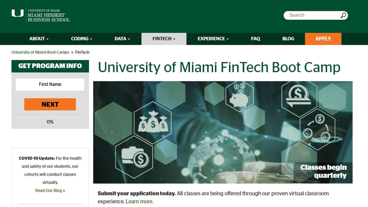 University of Miami and 2U set up fintech boot camp